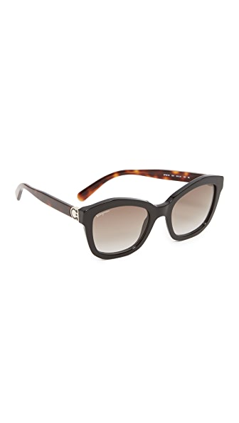 Salvatore Ferragamo Square Sunglasses - Black/Grey