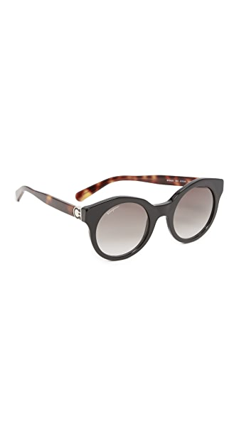 Salvatore Ferragamo Round Sunglasses - Black/Grey
