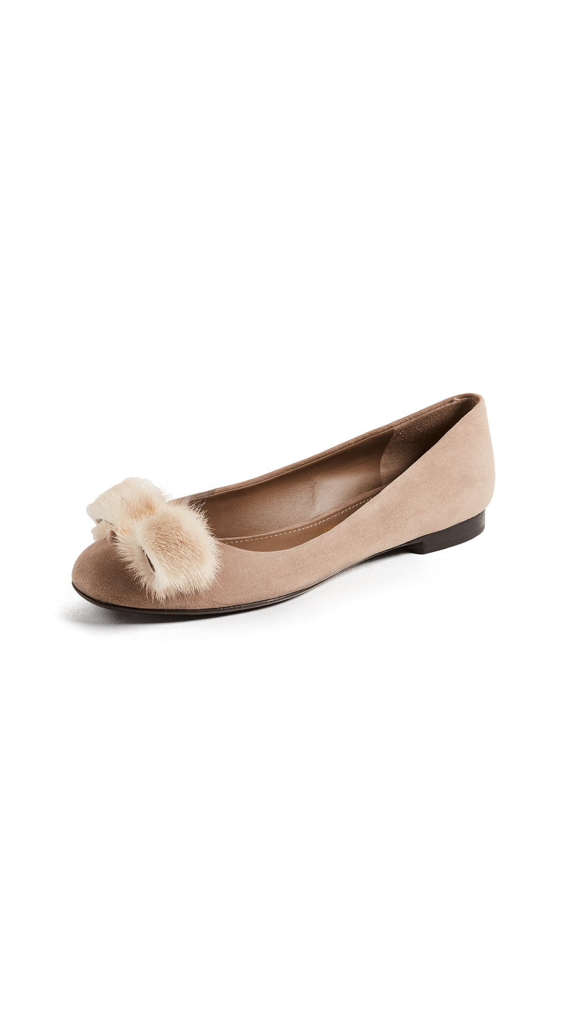 Salvatore Ferragamo Varina Flats with Fur Pom Poms - Clay