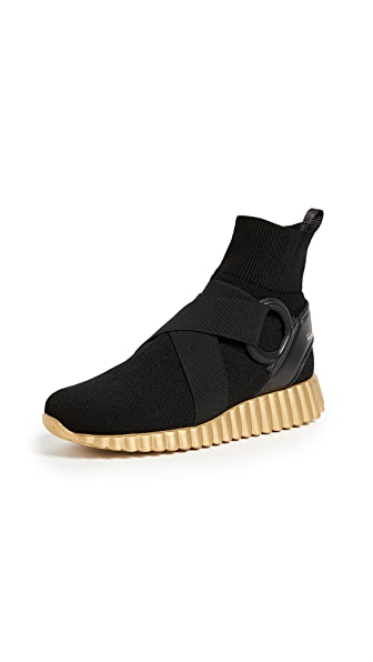 Gancini Belted Stretch Sock Sneakers in Nero