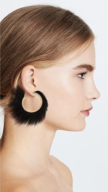 Salvatore Ferragamo Fur Hoop Earrings