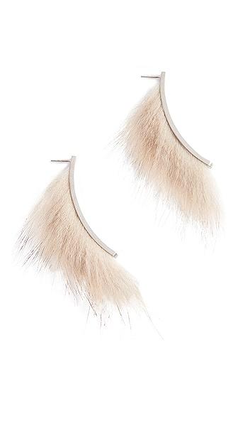 Salvatore Ferragamo Fur Earrings In Bianca
