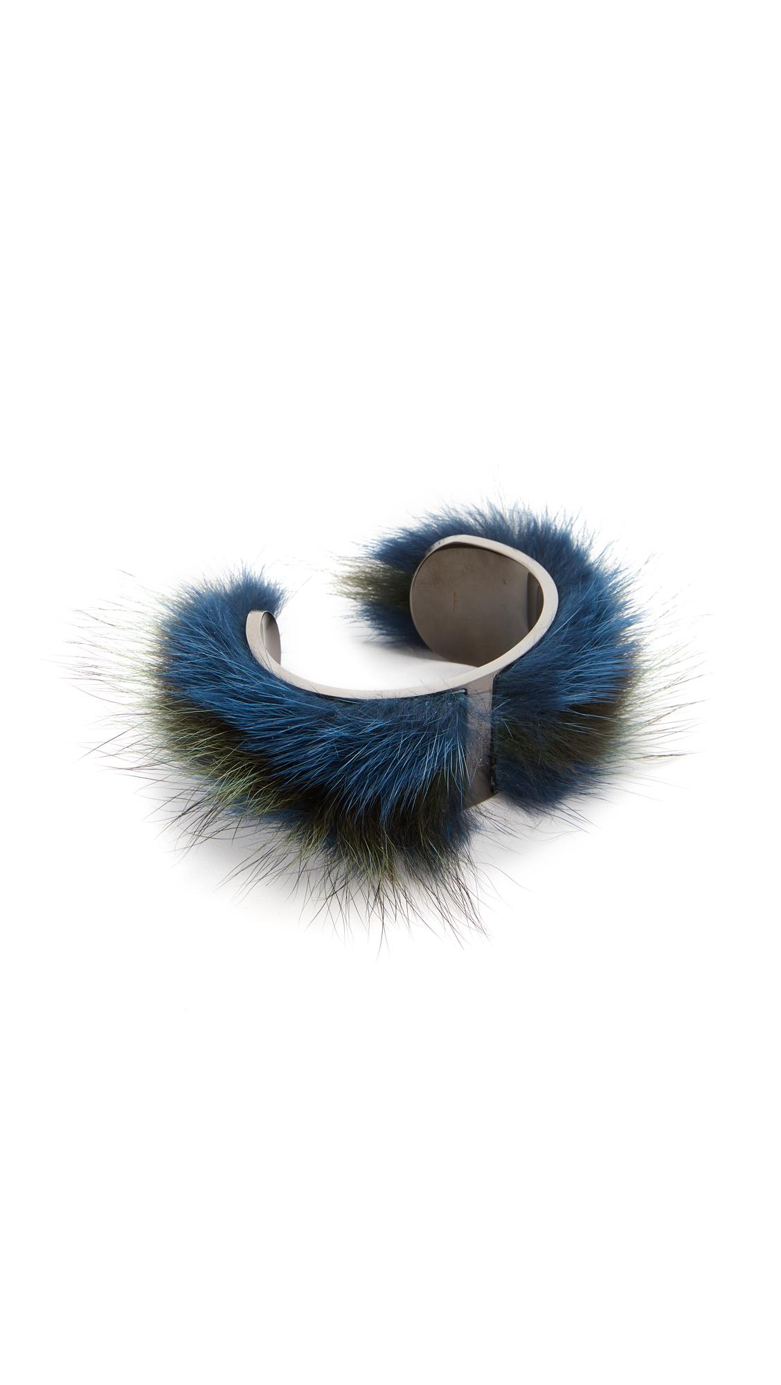 Salvatore Ferragamo Fur Cuff Bracelet - Blue