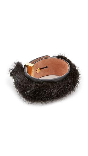 Salvatore Ferragamo Fur Leather Wrap Bracelet