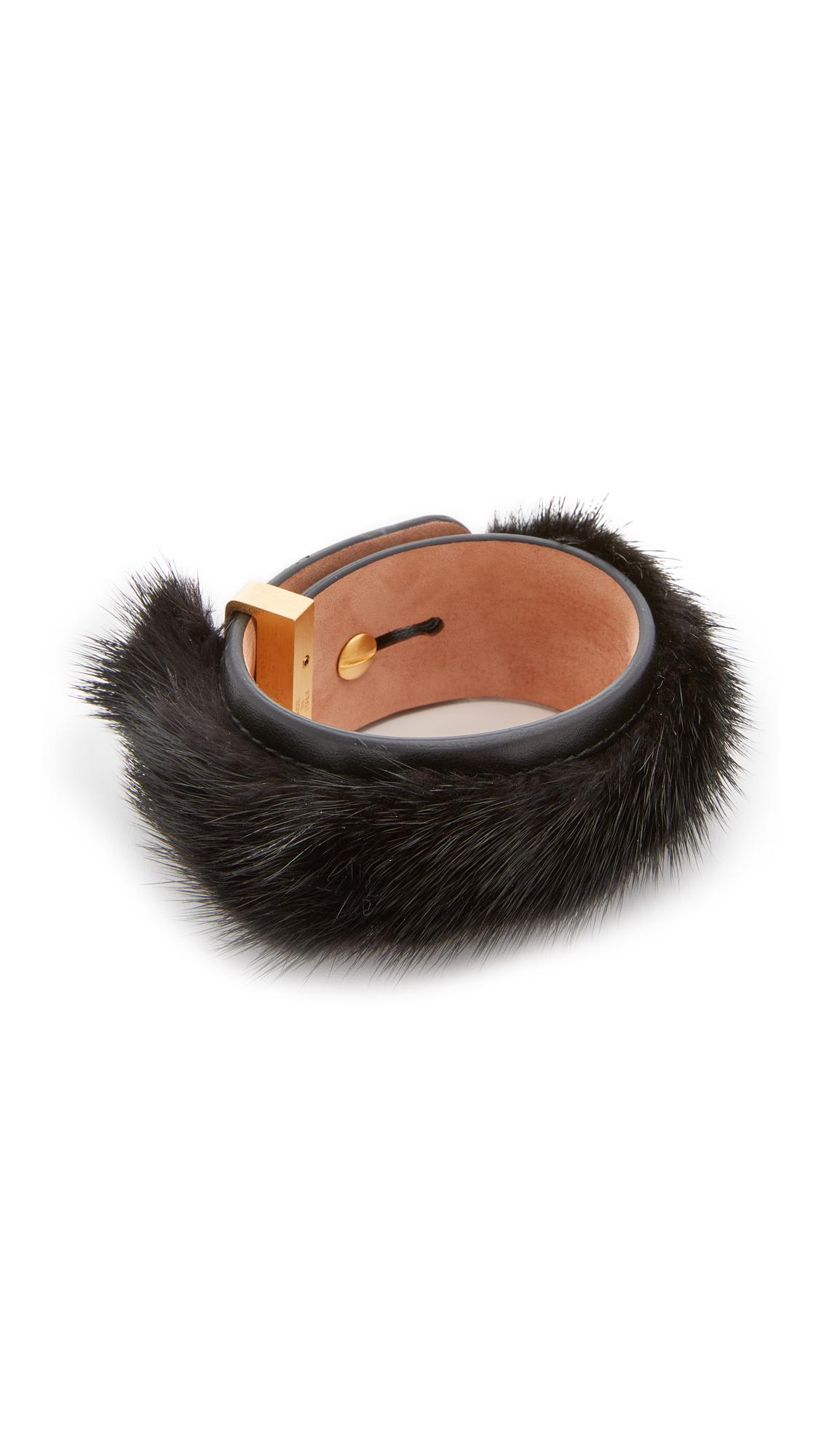 Salvatore Ferragamo Fur Leather Wrap Bracelet - Nero