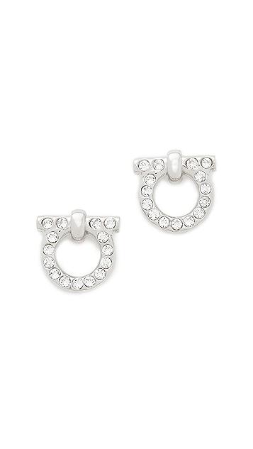 Salvatore Ferragamo Large Crystal Gancio Stud Earrings