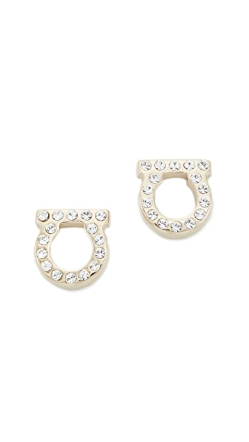Salvatore Ferragamo Small Crystal Gancio Stud Earrings