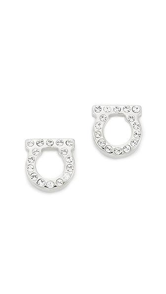 Salvatore Ferragamo Small Crystal Gancio Stud Earrings In Silver/Clear