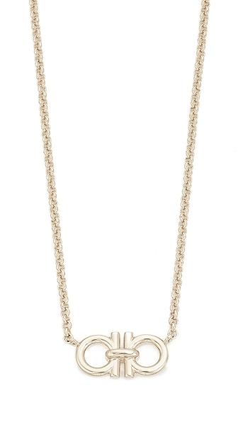 Salvatore Ferragamo Double Gancio Necklace In Gold