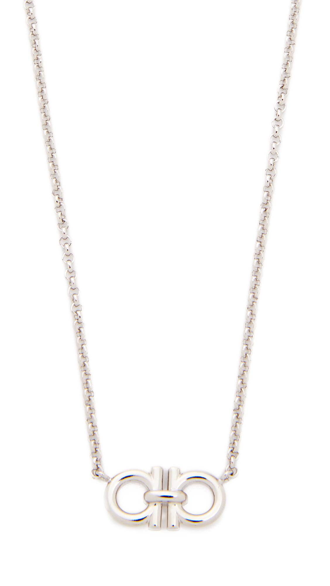 Salvatore Ferragamo Double Gancio Necklace In Silver