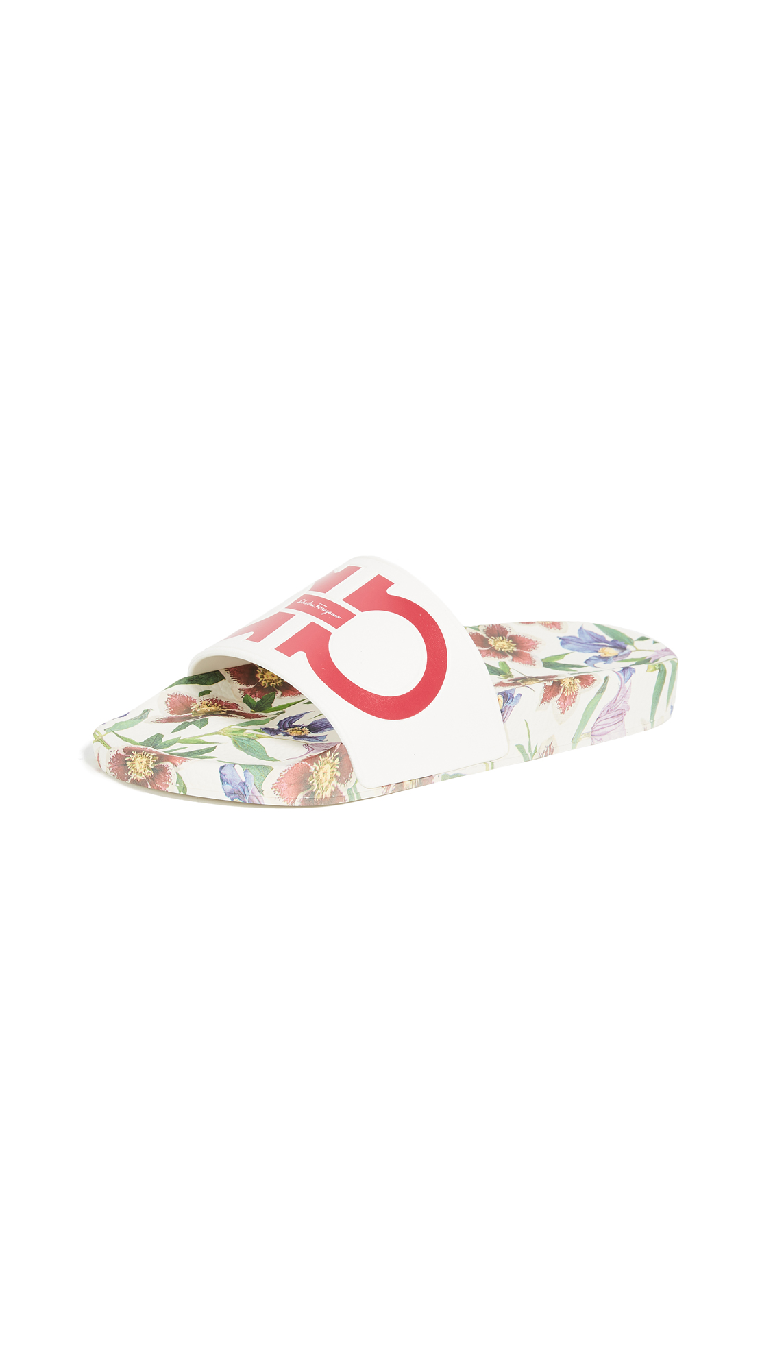 Salvatore Ferragamo Groove Flower Slides - New Bianco