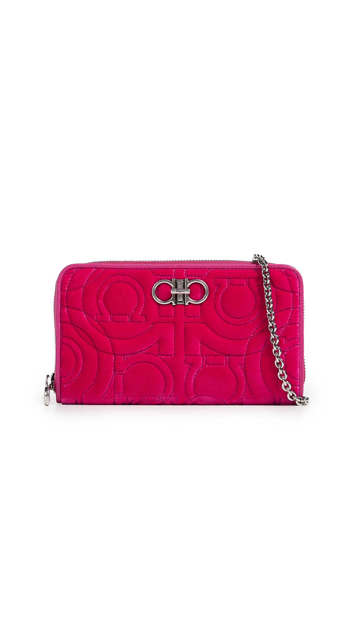 Salvatore Ferragamo Gancino Quilting Wallet on a Chain In Bubble Gum