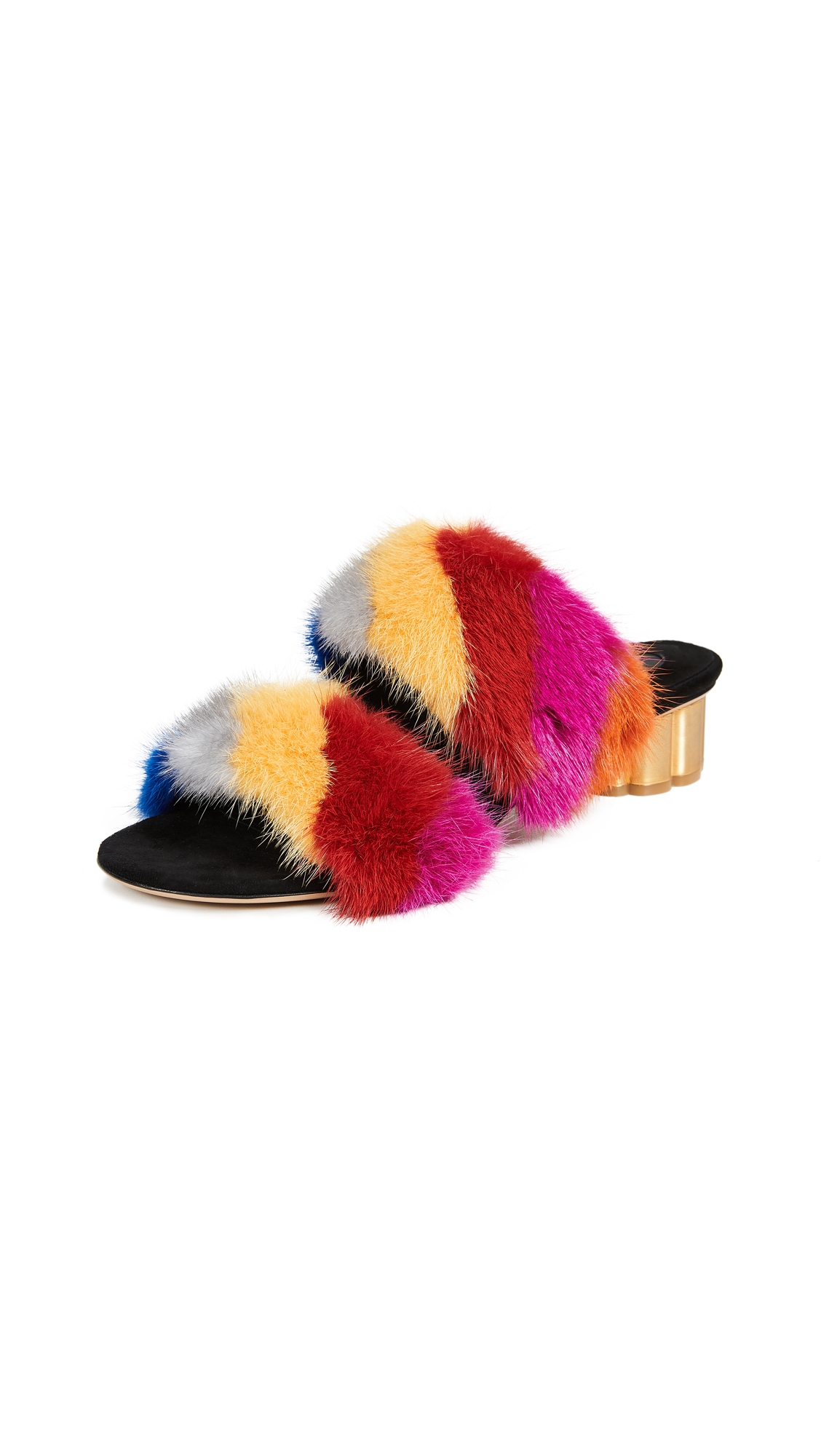Salvatore Ferragamo Belluno Fur Slides - Rainbow