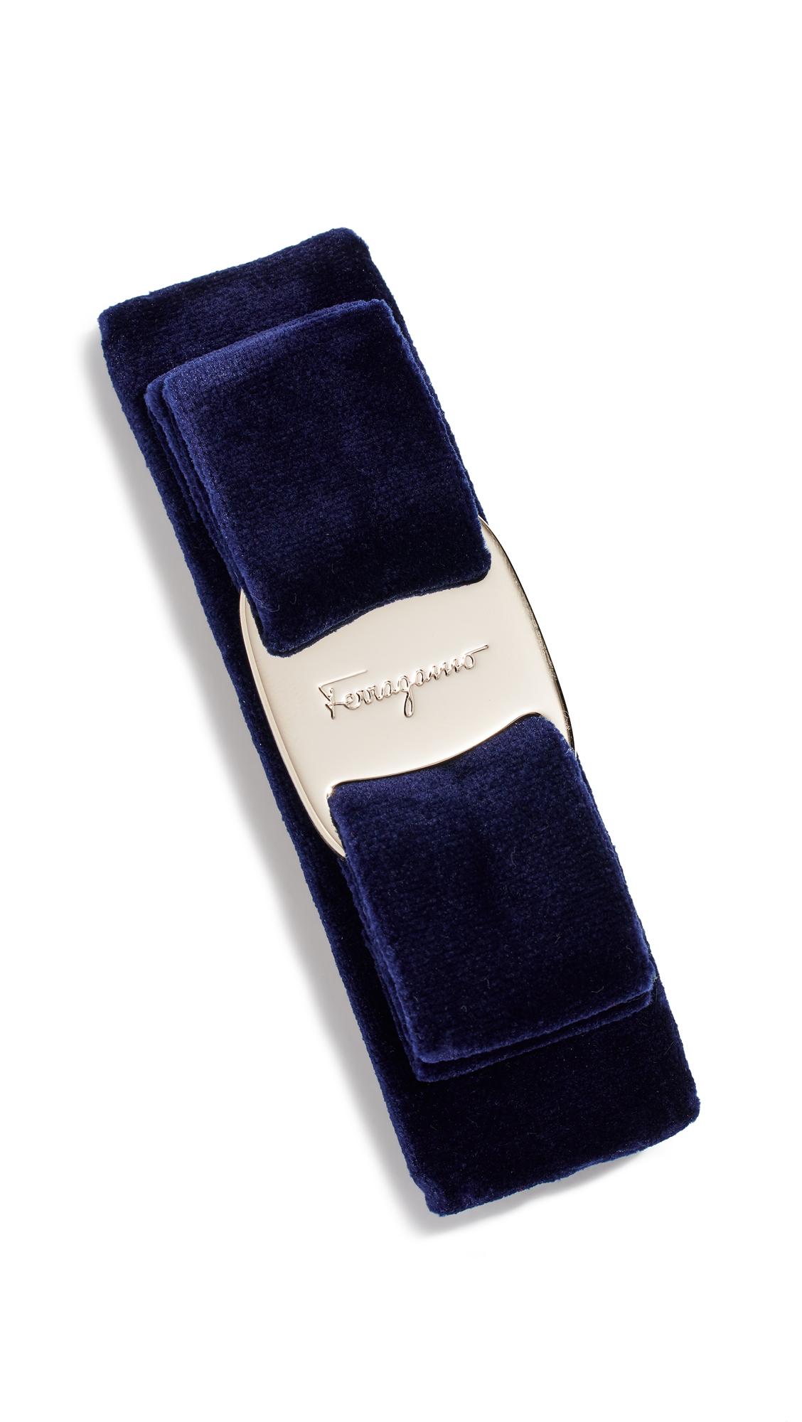 Velvet Bow Barret, Oxford Blue