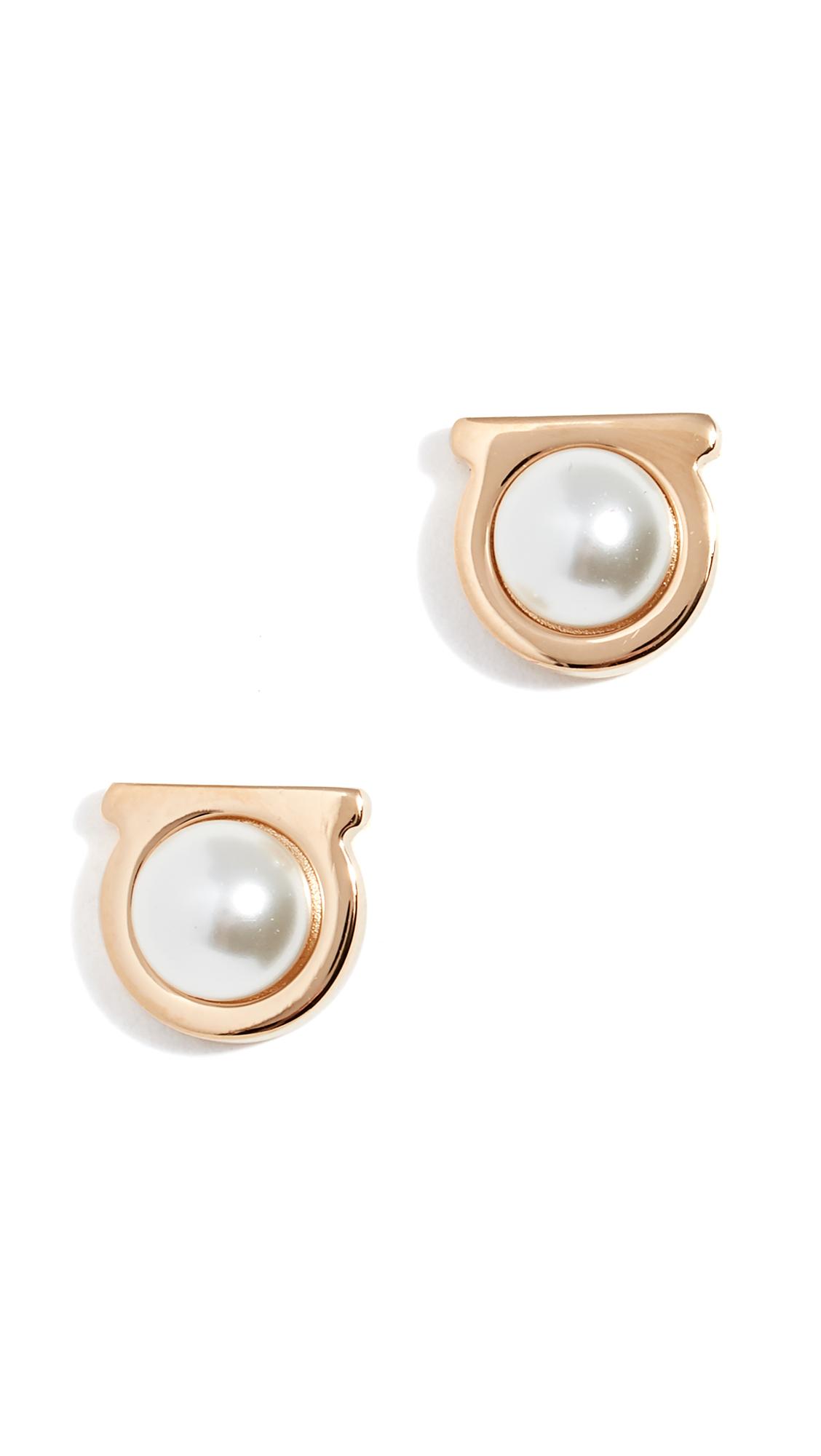 Salvatore Ferragamo Imitation Pearl Gancio Stud Earrings - Yellow Gold