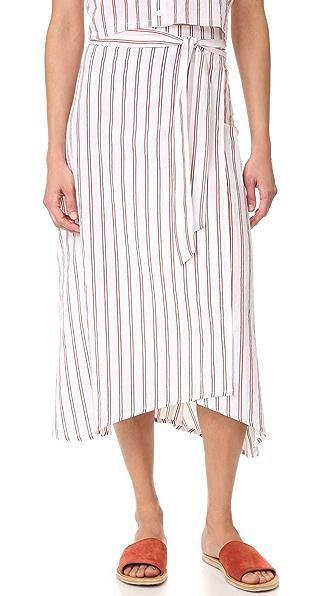 FAITHFULL THE BRAND Caribe Wrap Skirt - Bay Stripe