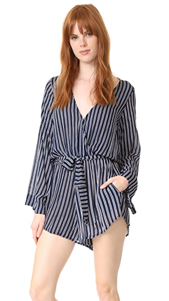 FAITHFULL THE BRAND Long Bay Romper - Serafina Stripe Print
