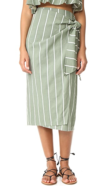 FAITHFULL THE BRAND Carlo Skirt - Hvar Stripe Print Khaki