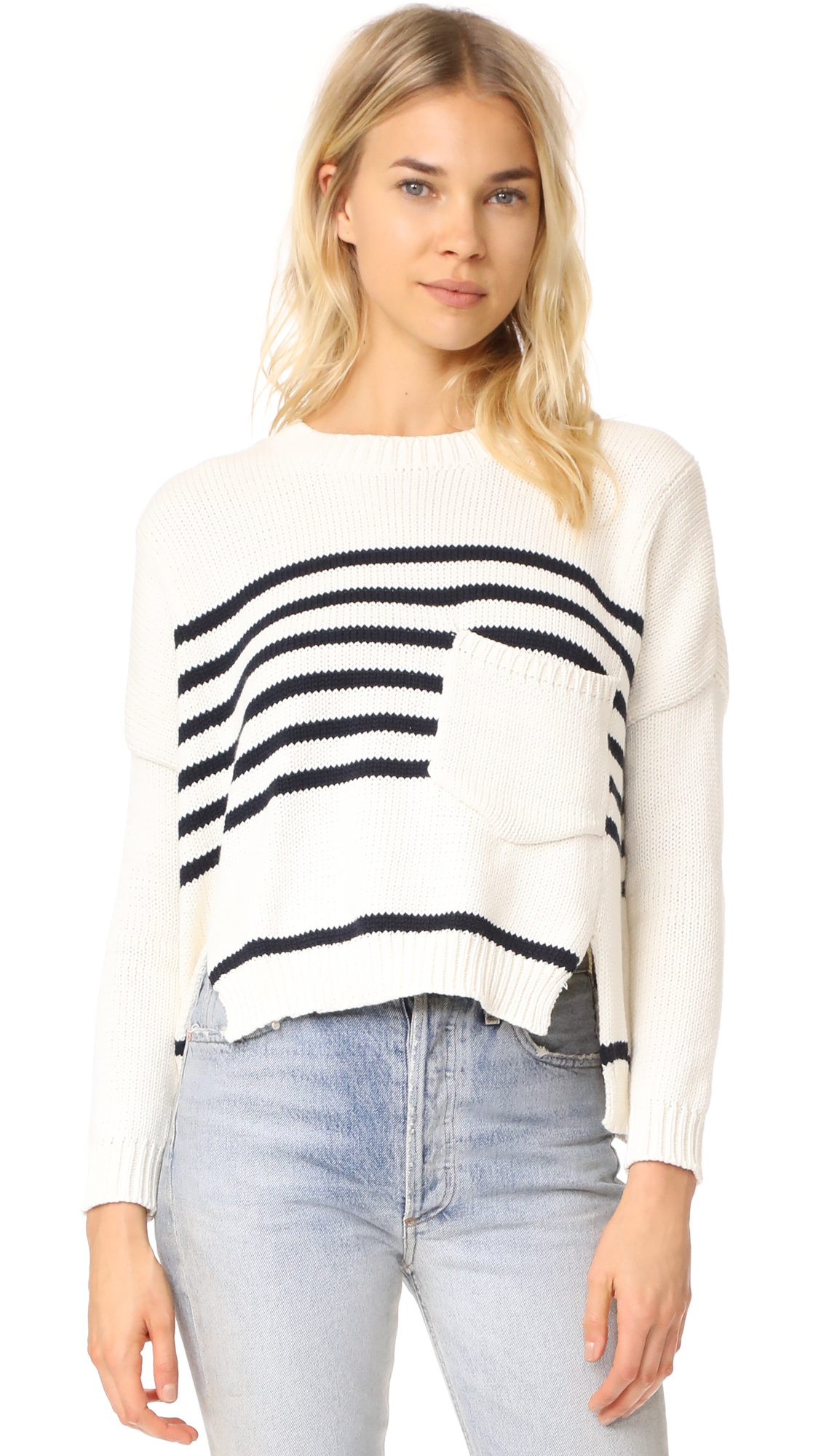 FAITHFULL THE BRAND Monaco Knit Sweater - White/Navy Stripe