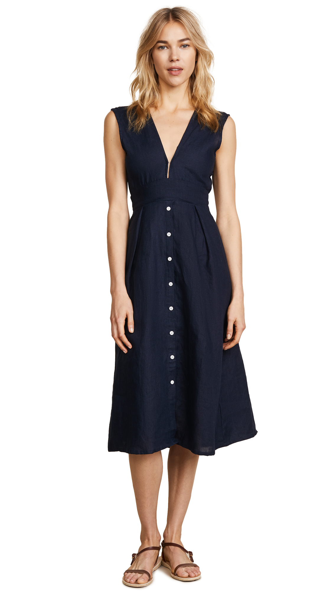 FAITHFULL THE BRAND Le Roch Midi Dress - Navy