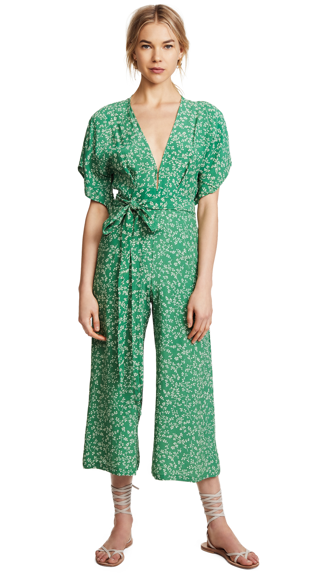 FAITHFULL THE BRAND Cedric Jumpsuit - Violet Print/Green