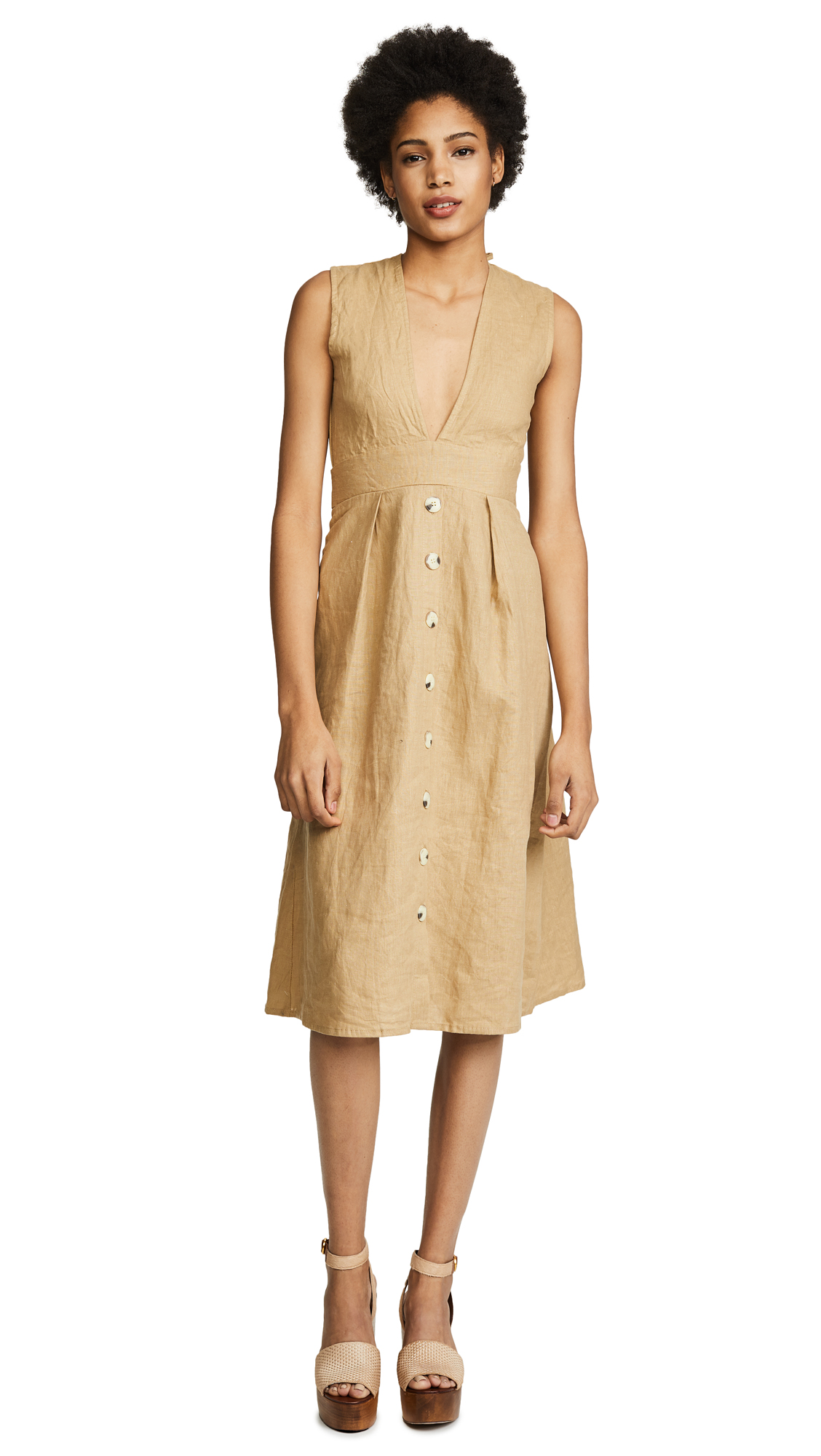 FAITHFULL THE BRAND Le Roch Midi Dress - Plain Oat
