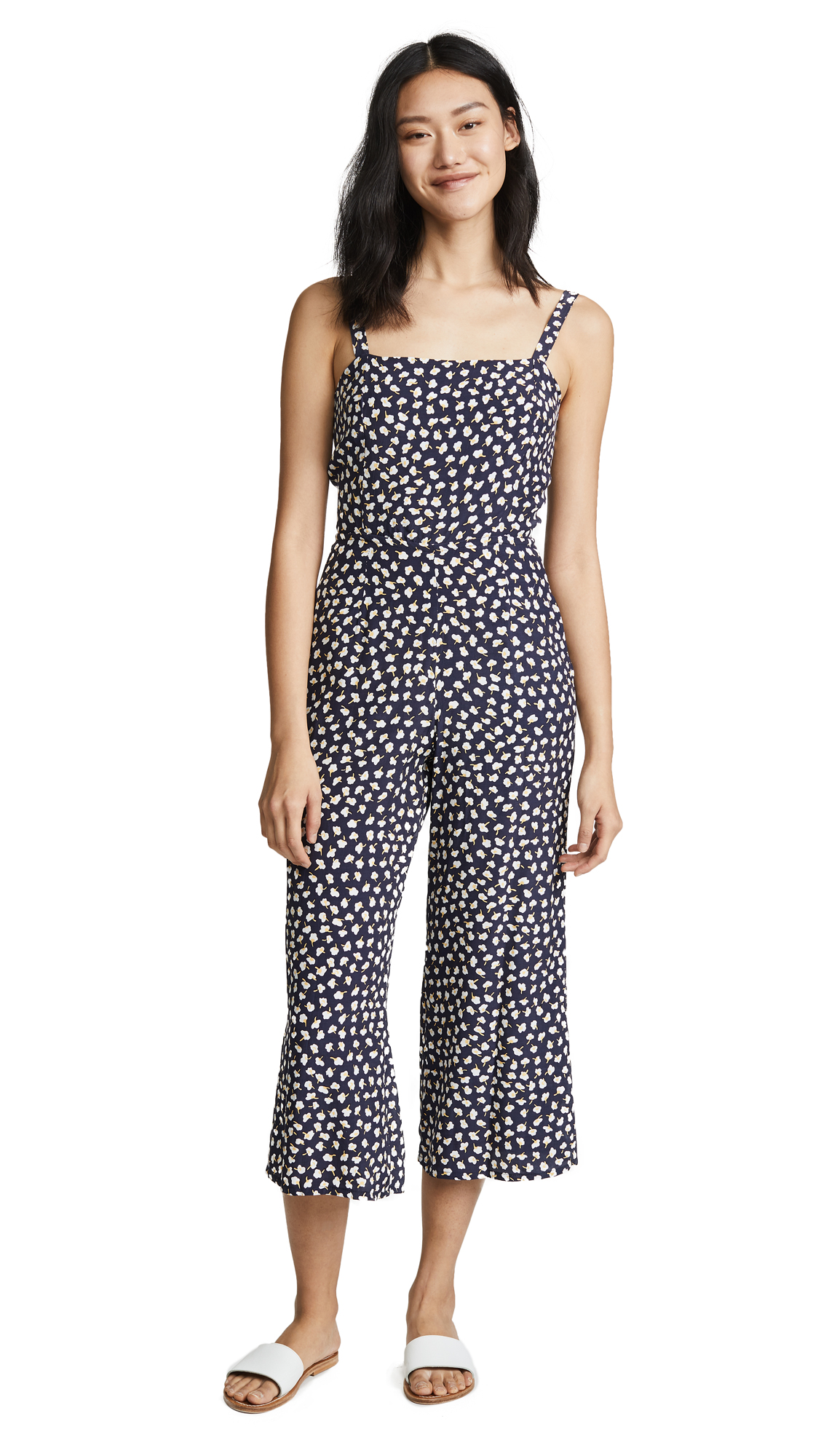 FAITHFULL THE BRAND Playa Jumpsuit In Navy Vintage Bloom