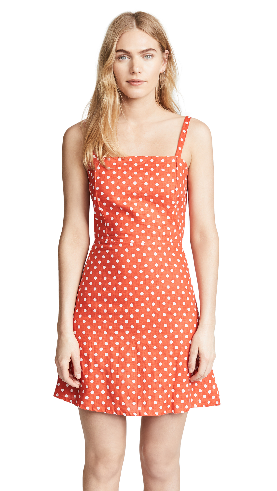 FAITHFULL THE BRAND Stepper Dress In Red Polka Dot