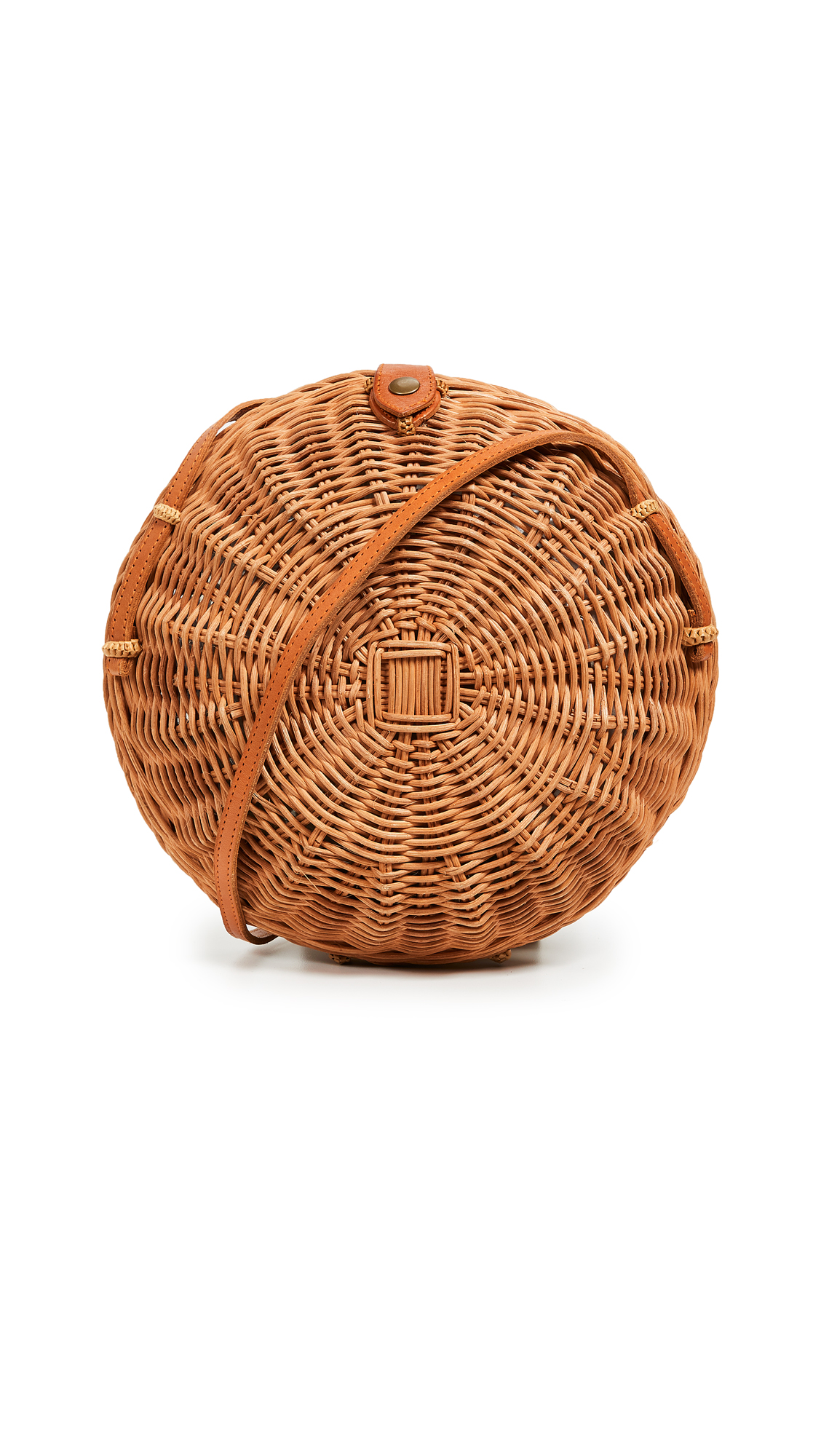 Fabric: Wicker Snap button closure at top Shoulder strap Unlined Dust bag included Weight: 13oz / 0.37kg Imported, Indonesia Measurements Height: 8.75in / 22cm Length: 8.75in / 22cm Depth: 2.75in / 7cm Strap drop: 19.75in / 50cm
