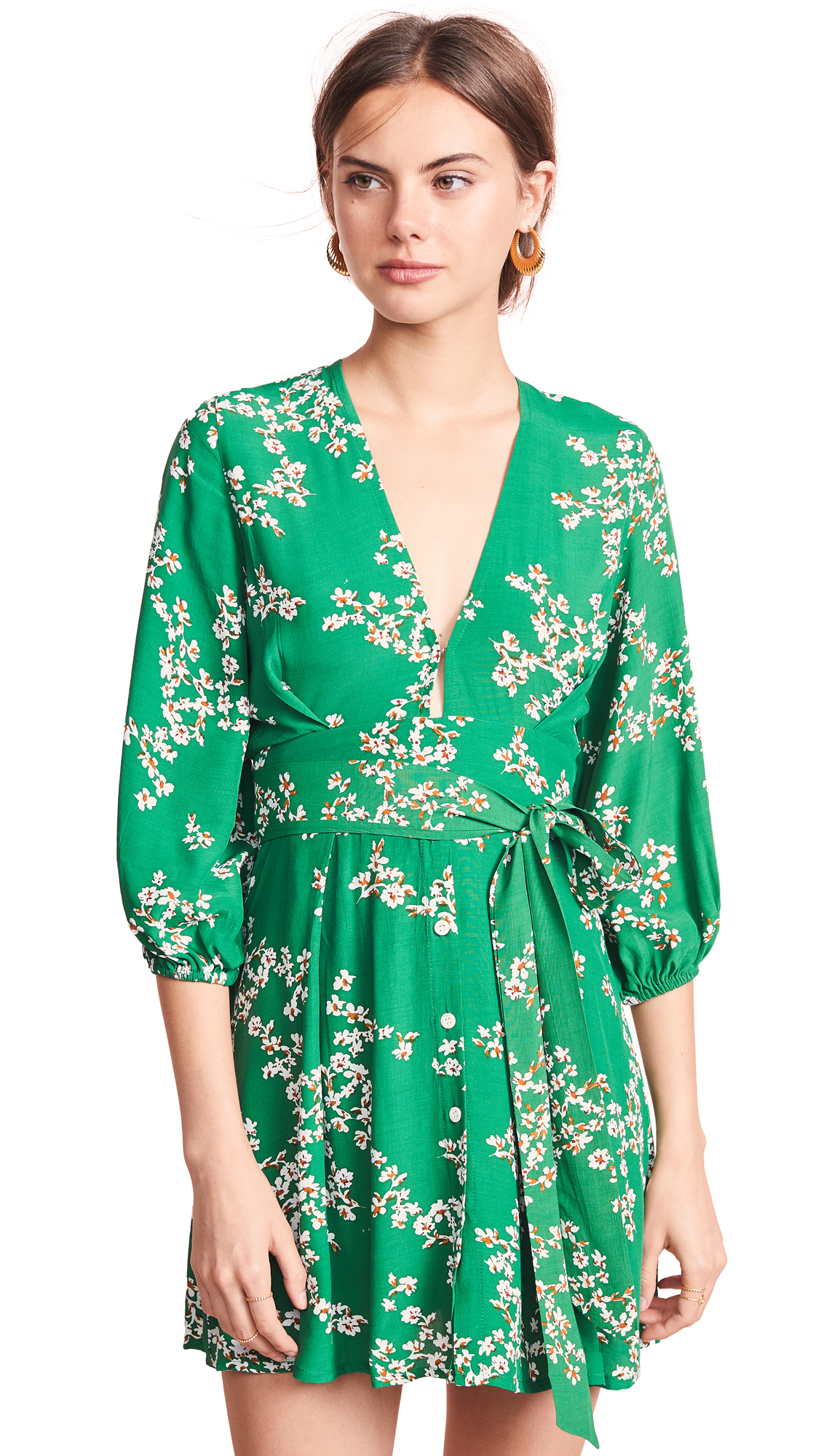 FAITHFULL THE BRAND Margot Floral Print Button Front Dress in Green