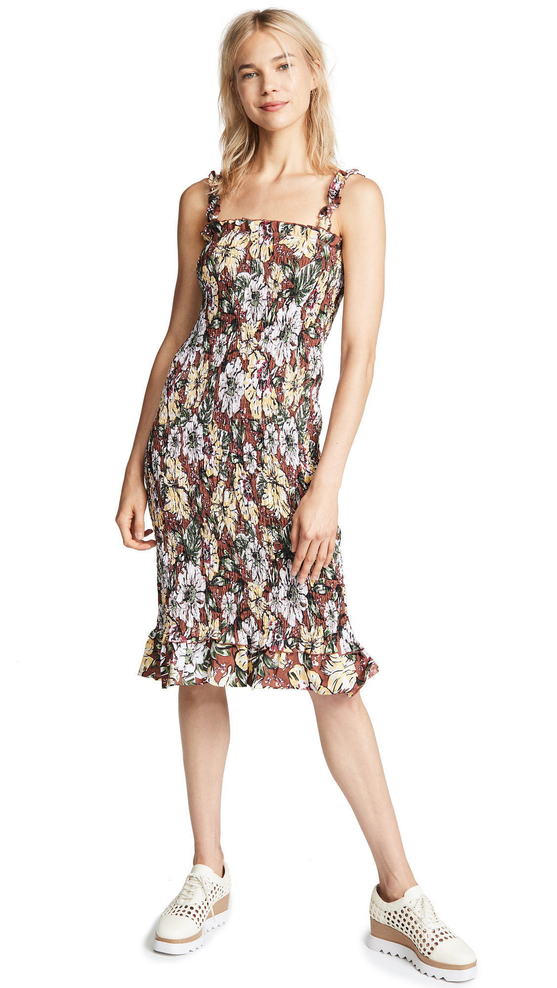FAITHFULL THE BRAND Maya Smocked Floral-Print Linen Midi Dress in Brown