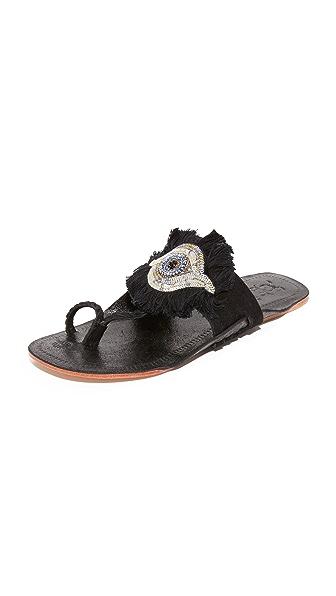 Figue Evil Eye Sandals - Metallic Black