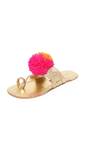 Figue Leo Pom Pom Sandals - Gold/Pink Multi