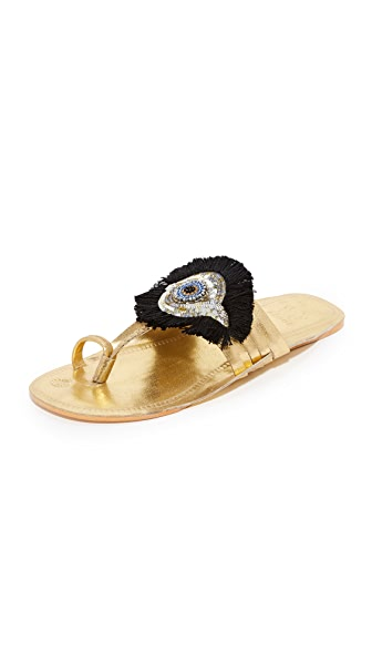 Figue Evil Eye Sandals In Gold