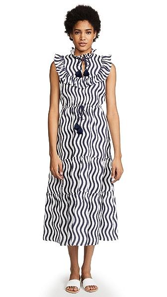 Figue Lila Dress In River Stripe/Island Blue
