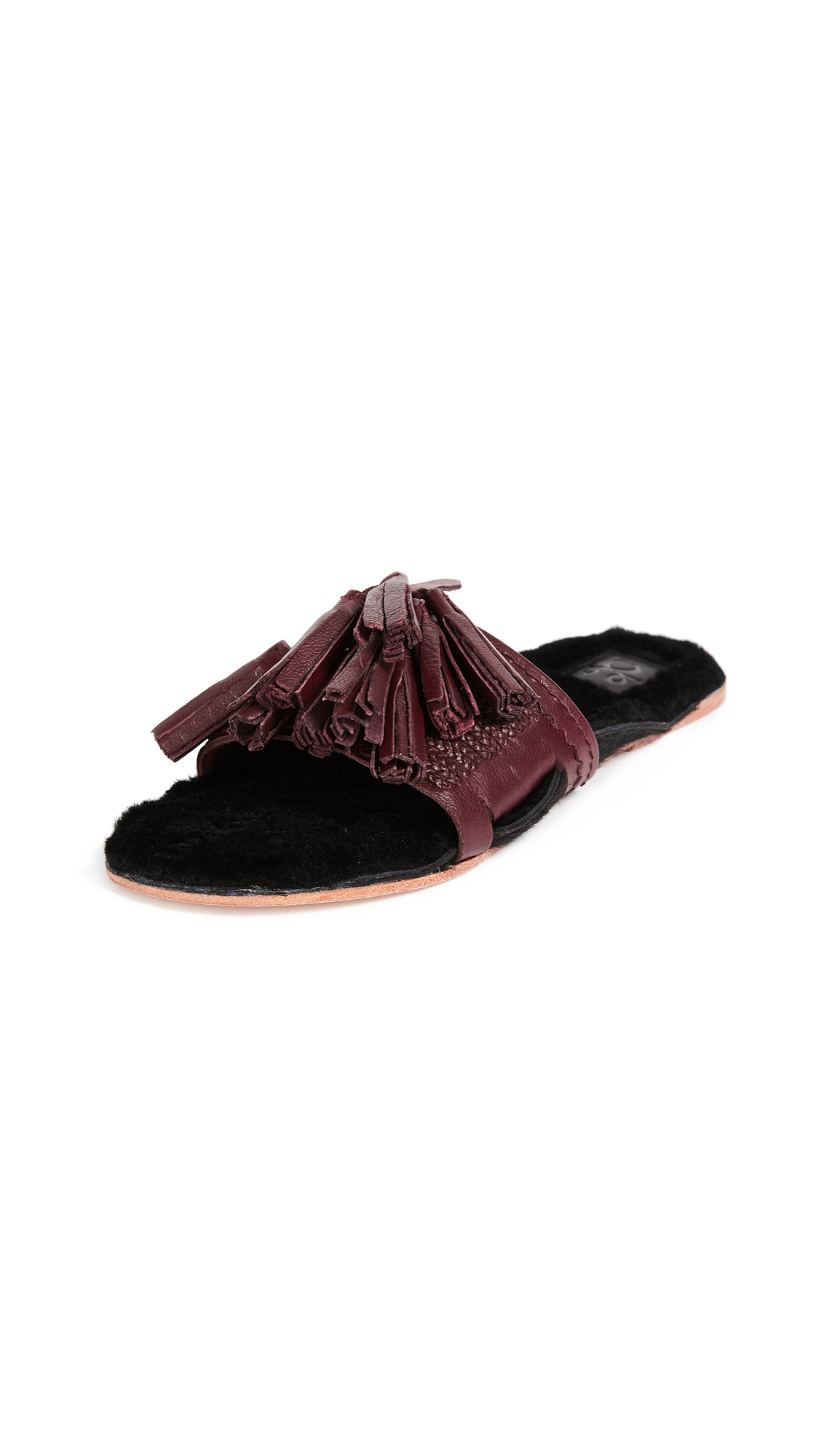 Figue Shearling Noona Slides - Dark Raspberry