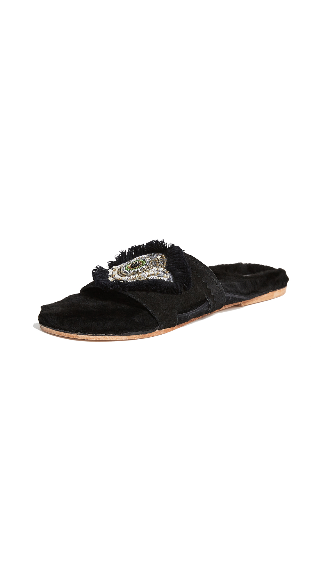 Figue Evil Eye Noona Slides - Onyx Black