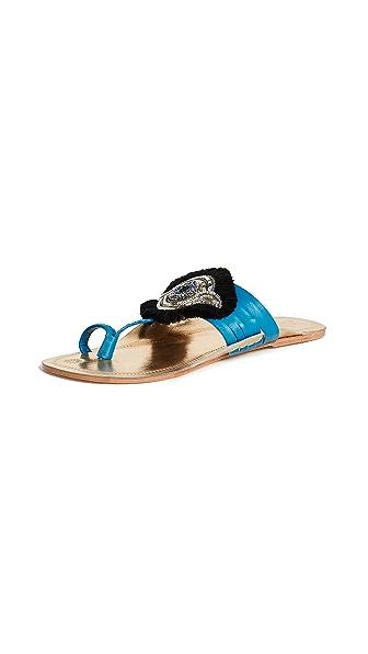 Figue Evil Eye Sandals In Gold/Milos Blue