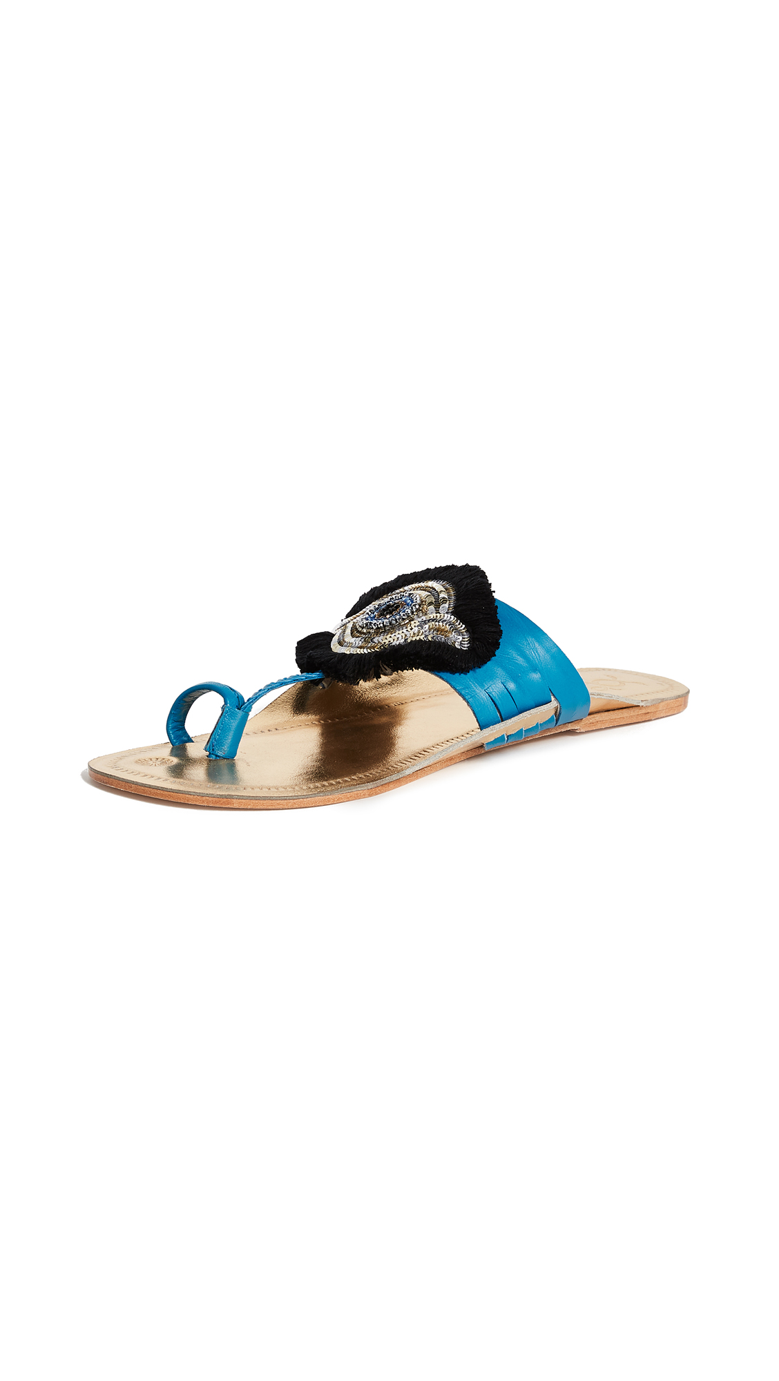 Figue Evil Eye Sandals - Gold/Milos Blue