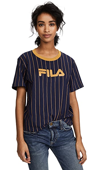 Fila Lonnie Pinstripe T-Shirt In Navy/Mustard Gold