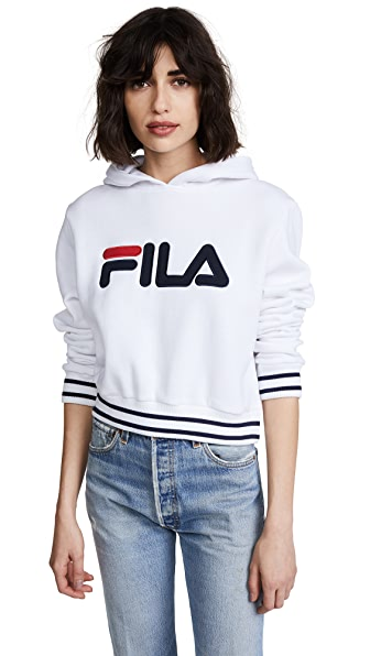 Fila Penelope Hoodie In White/Navy/Chinese Red