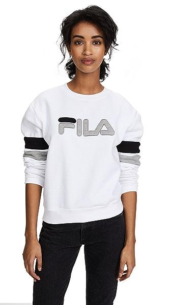 Fila Newton Sweatshirt In White/Grey Heather/Black