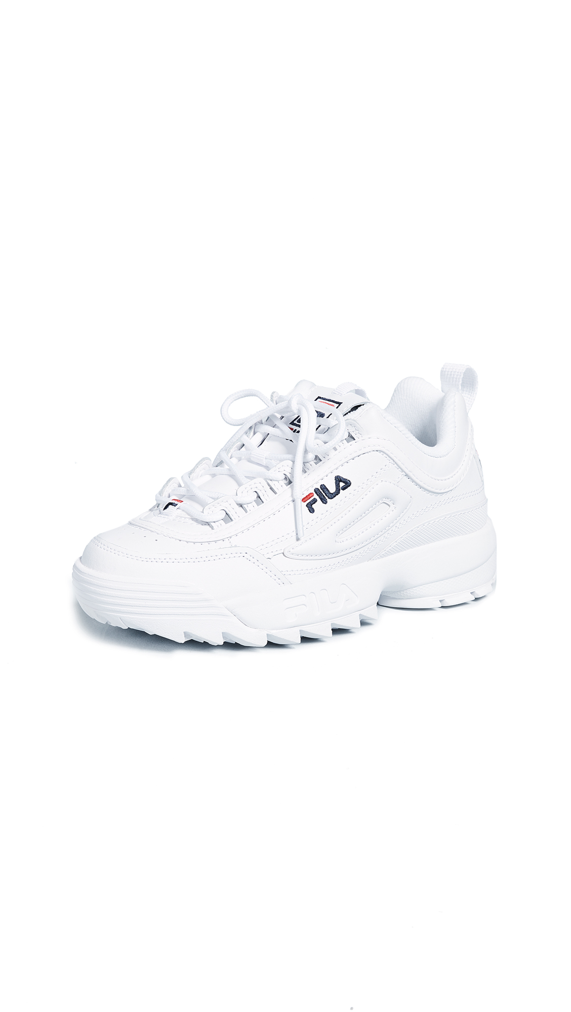 Fila Disruptor II Premium Sneakers - White/Fila Navy/Fila Red