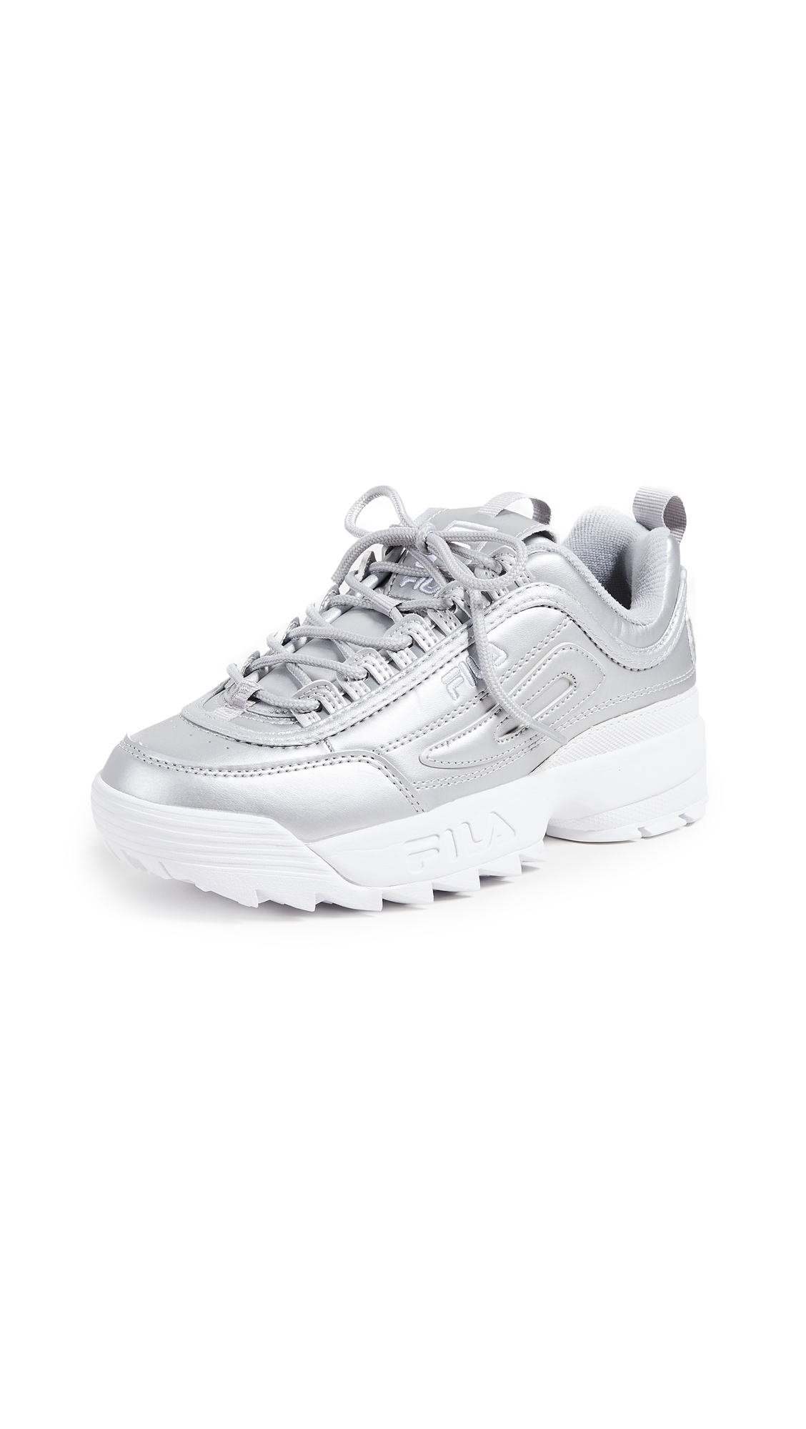 Women'S Disruptor Ii Premium Metallic Casual Shoes, Grey in Metallic Silver/White