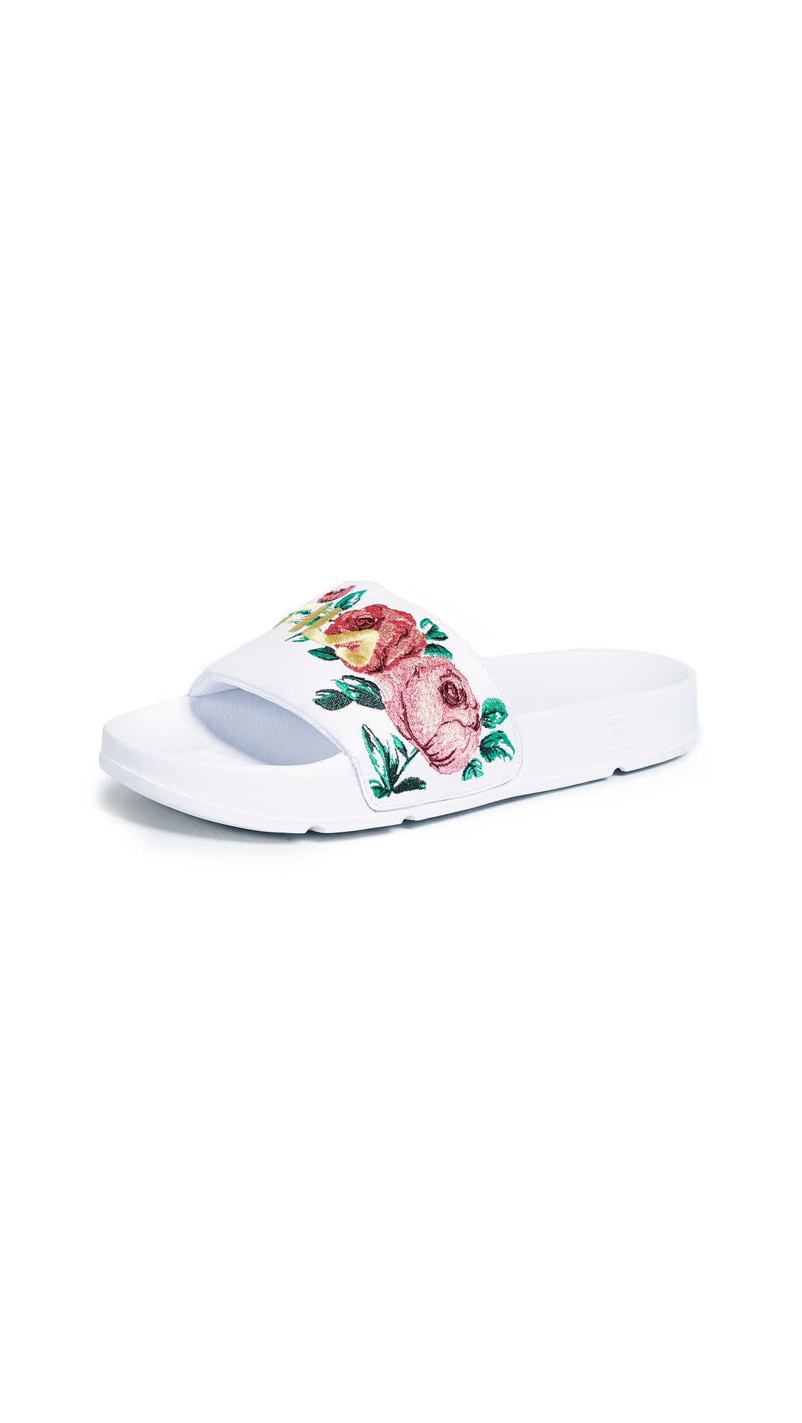 Fila Drifter Embroidery Slides - White/Desert Flower/Jelly Bean