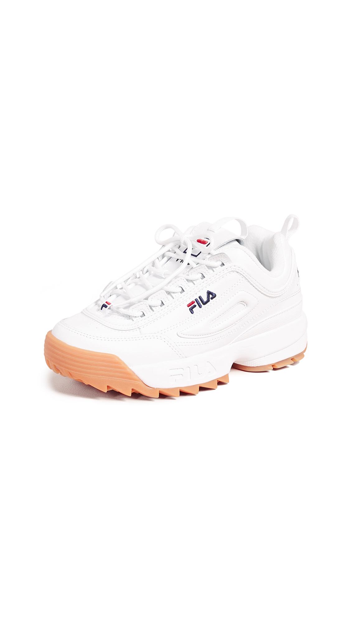 Fila Disruptor II Premium Sneakers - White/Fila Navy/Gum