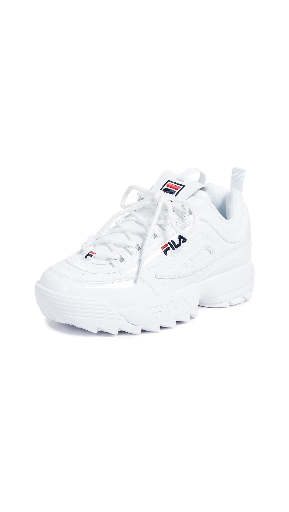 Fila Disruptor II Premium Patent Sneakers - White/Fila Navy/Fila Red