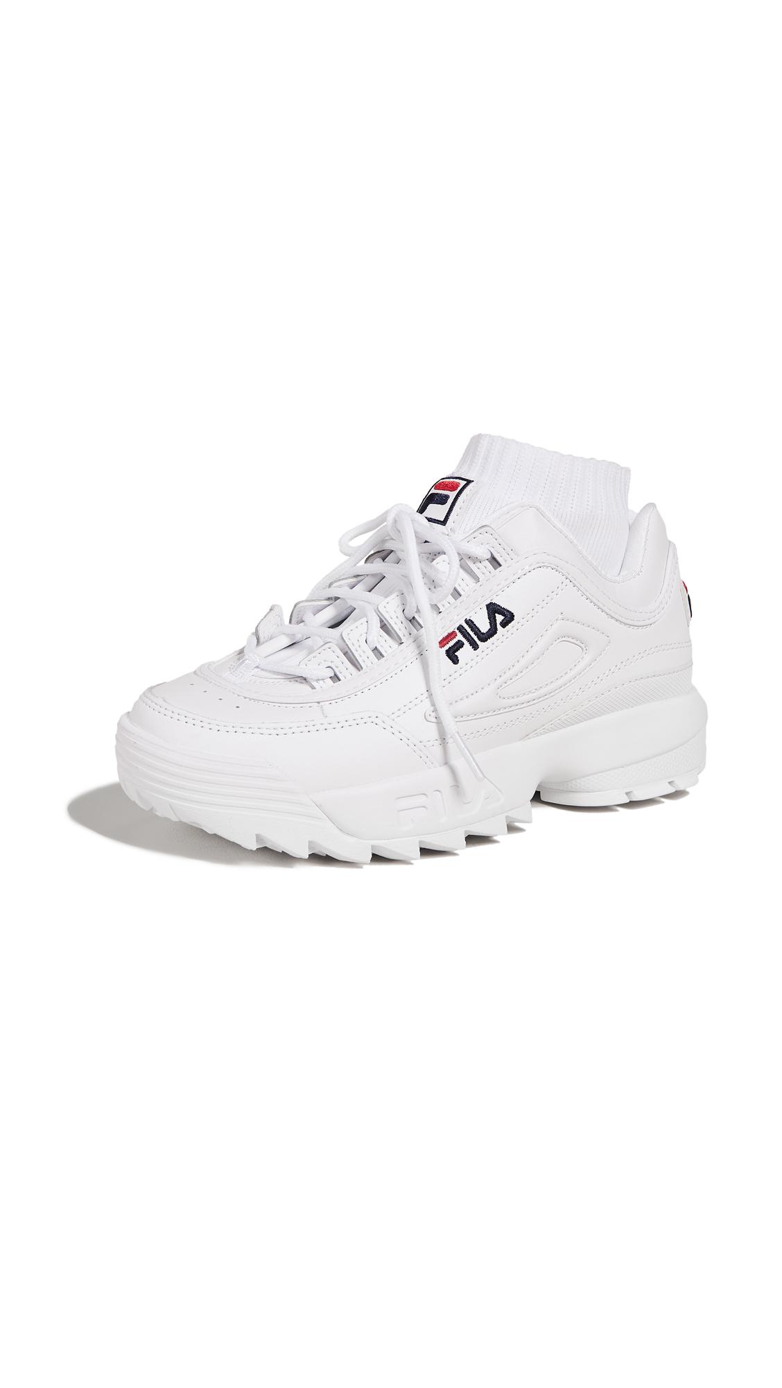 Fila Disruptor Evo Sockfit Sneakers - White/Fila Navy/Fila Red