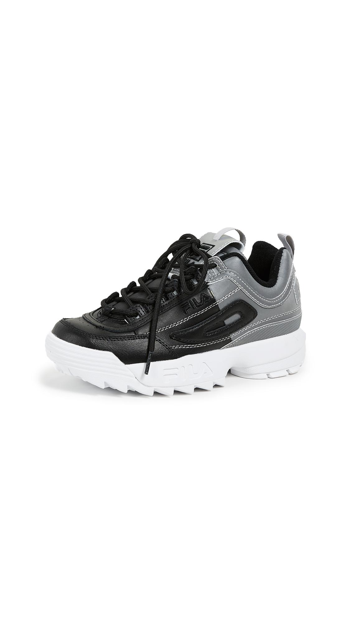 Fila Disruptor II Premium Sneakers - Black/Metallic Silver/White