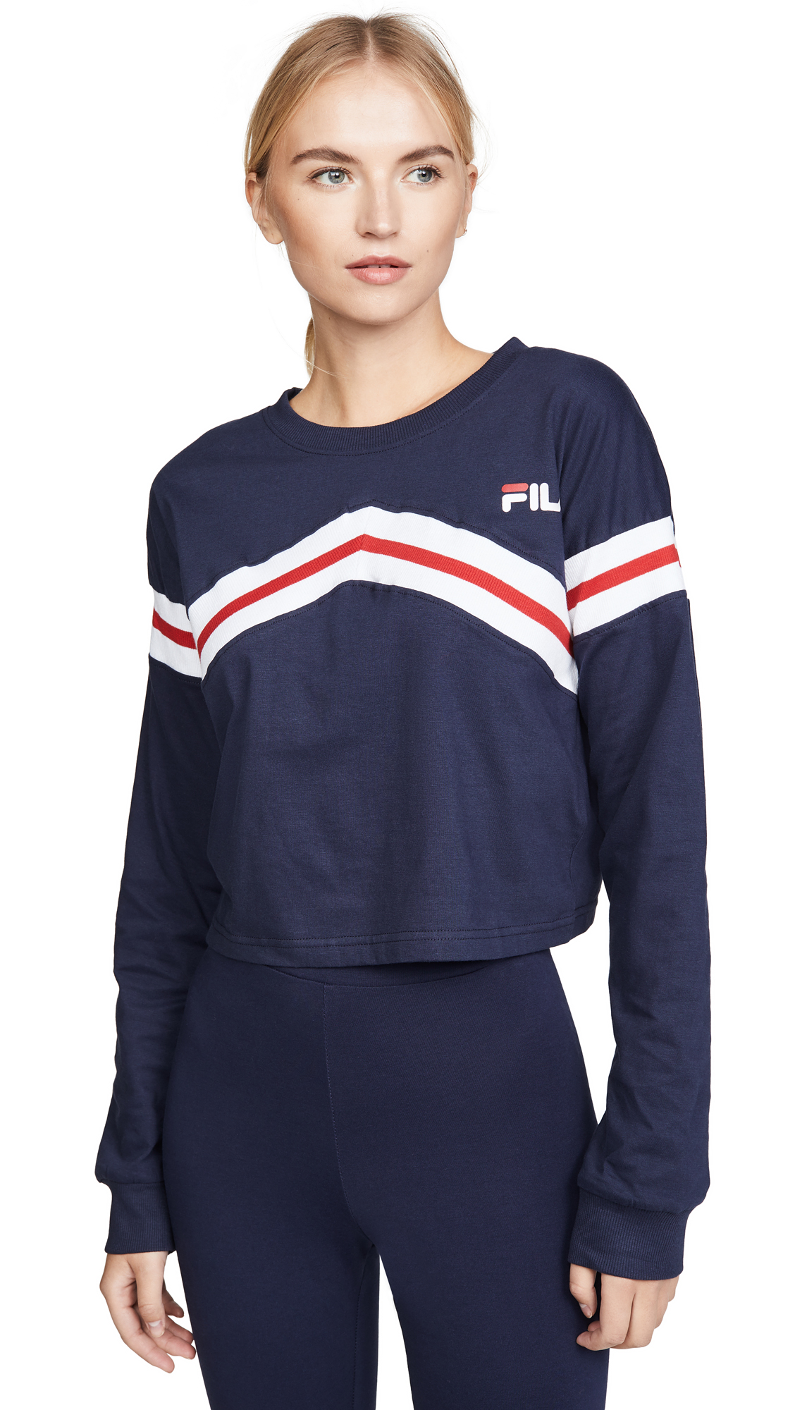 Buy Fila online - photo of Fila Aja ZigZag Long Sleeve Crop Tee